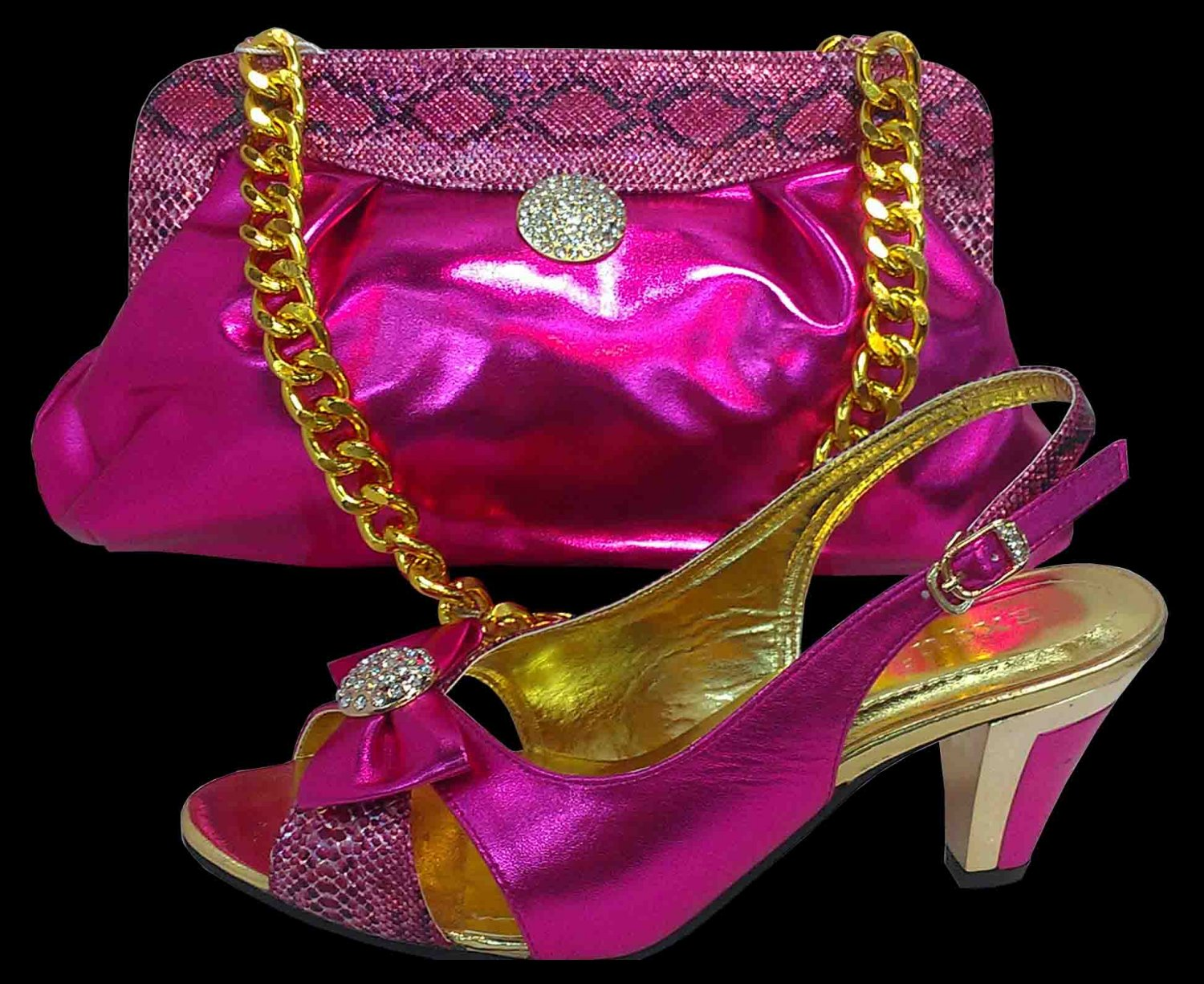 Shoes with matching bag SE1120 colour, Rose, size UK7