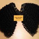 "12"" Virgin Brazilian Tight Kinky Curl Machine Hair Wefts, 2 packs, 8 oz"