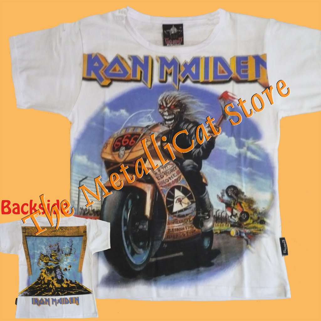 T-SHIRT IRON MAIDEN Motorbike Race WHITE CD SIZE S for GIRLS