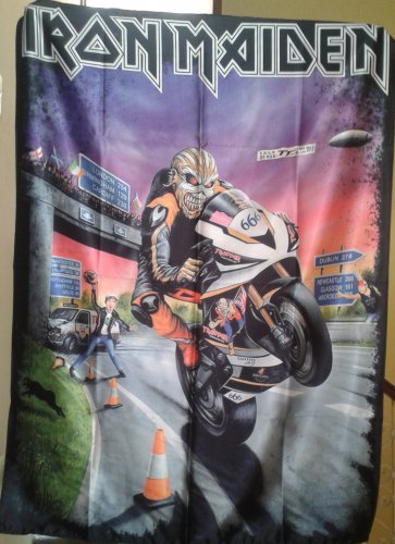 IRON MAIDEN The Book of Souls - UK Tour 2017 Motorbike 666 FLAG CLOTH POSTER