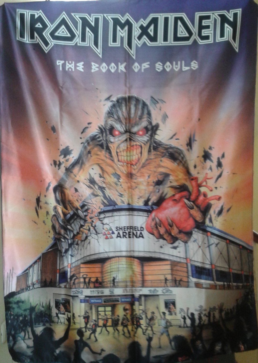 IRON MAIDEN The Book of Souls - UK Tour 2017 Sheffield Arena FLAG CLOTH POSTER