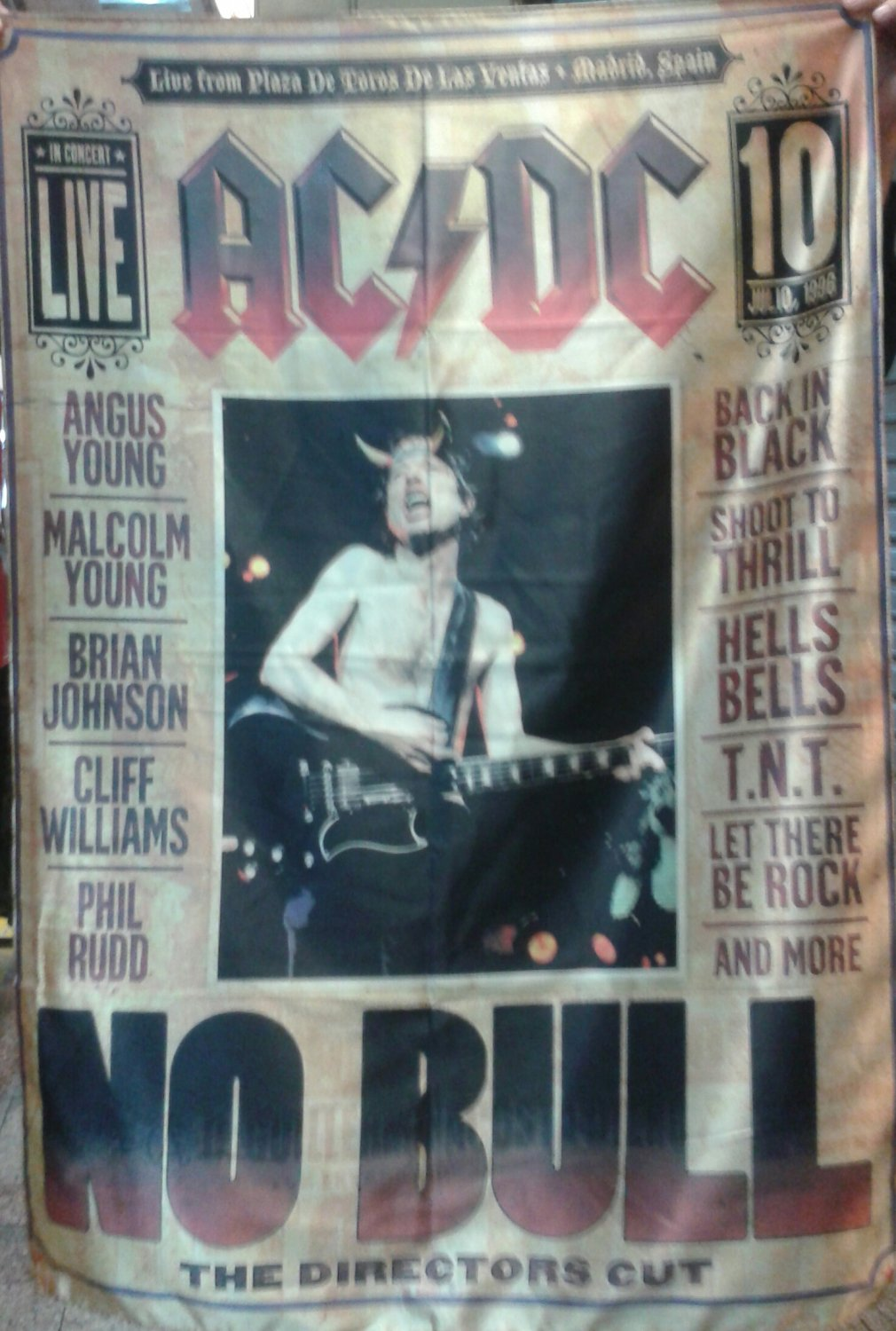 AC/DC No Bull FLAG CLOTH POSTER WALL TAPESTRY BANNER CD Angus Young HEAVY METAL