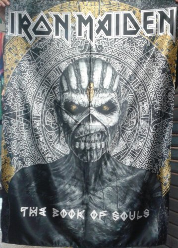 IRON MAIDEN The Book of Souls - Golden Black FLAG CLOTH POSTER WALL TAPESTRY CD LP