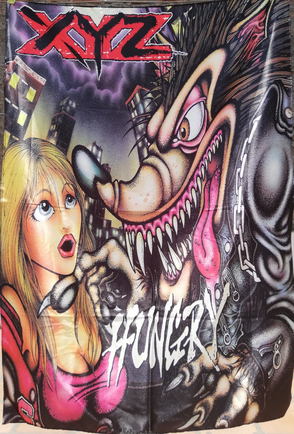XYZ Hungry FLAG CLOTH POSTER WALL TAPESTRY BANNER CD Hard Rock Glam Metal