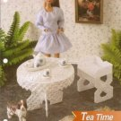 Annies Attic Tea Time Barbie Doll SizeTable Chairs Plastic Canvas Pattern