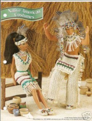 Annie's Attic : Native American Costumes Crochet Pattern for Barbie and Ken Dolls