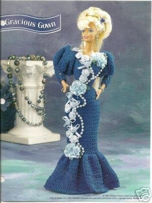 Annies Attic Gracious Gown Crochet Pattern for Barbie Size Doll