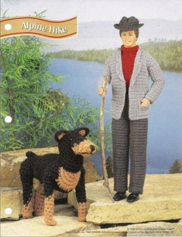 Annies Attic Pattern Ken Doll Hiking Suit And Dog Crochet