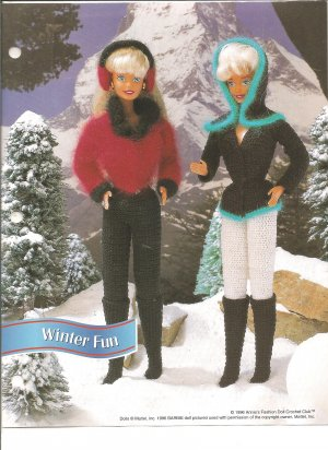 Annies Attic: Winter Fun Barbie Size Earmuffs, Winter outifts Pattern