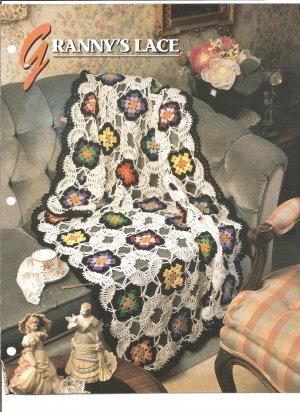 Annies Attic, Granny`s Lace Crochet Afghan or Tablecloth Pattern