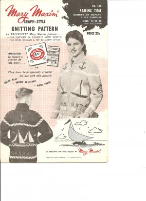 Mary Maxim 436, Unisex Sail Boat and Anchor  Graph Style Cardigan Knitting Pattern
