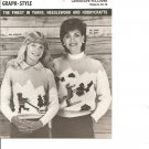 Mary Maxim 8458-59 Landscape Graph Style Pullover  Knitting Pattern
