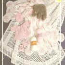 Baby Layette Crochet Pattern, Love Knot Shawl, Flower Afghan Booties, Jacket and Bonnet