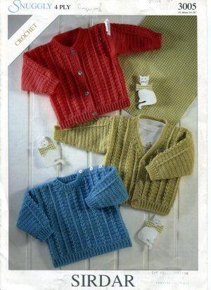 Sirdar 3005 Snuggly Crochet Sweater Patterns For Newborn