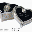 Gold/Silver Color, Brass Funeral Cremation Urn Keepsake w. Engraved Heart Box