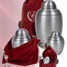 """Alloy Child or Pet Size, 6"""" Funeral Cremation Urn w. Velvet Pouch, 43 Cubic Inch"""