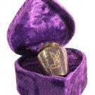 Silver Angel, Brass Funeral Cremation Urn Keepsake w. Velvet Heart Box, 3 Inches