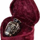 Black and Gold Color, Brass Funeral Cremation Urn Keepsake w. Velvet Heart Box