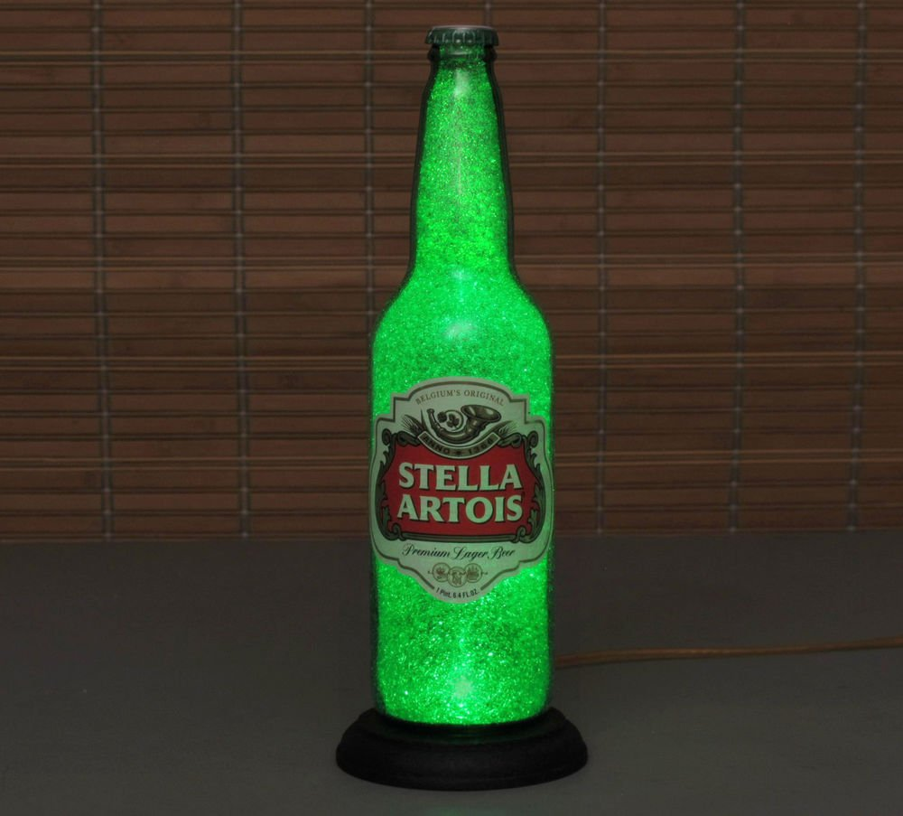 Stella Artois Beer Bottle Lamp Itay 24oz.LED Light Bar Man Cave Emerald Glow