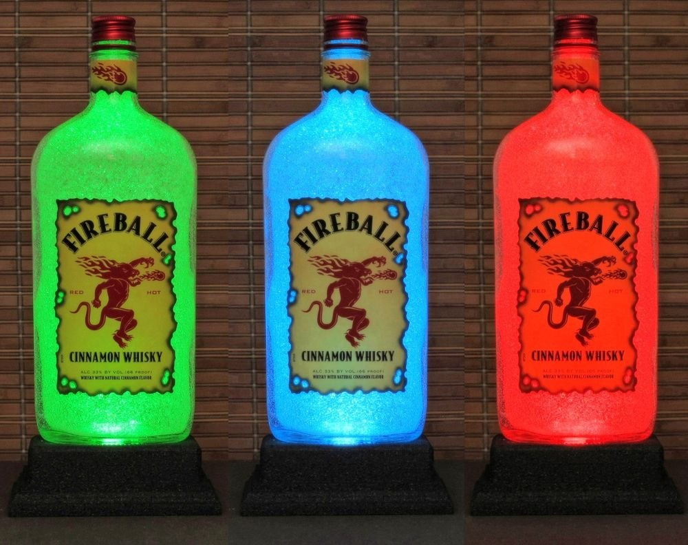 Fireball Whiskey 1 Liter Color Changing W/Remote Bottle Lamp Bar Light Man Cave