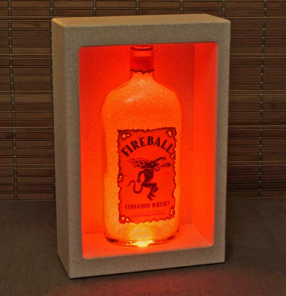 Fireball Whiskey Wall Mount Color Changing Bottle Lamp Bar Light LED Remote Pub