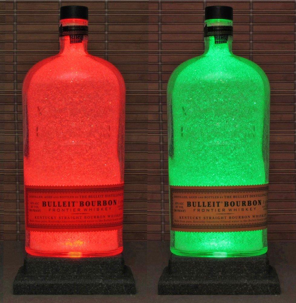 Bulleit Bourbon Kentucky Whiskey LED Remote Color Changing Bottle Lamp Bar Light