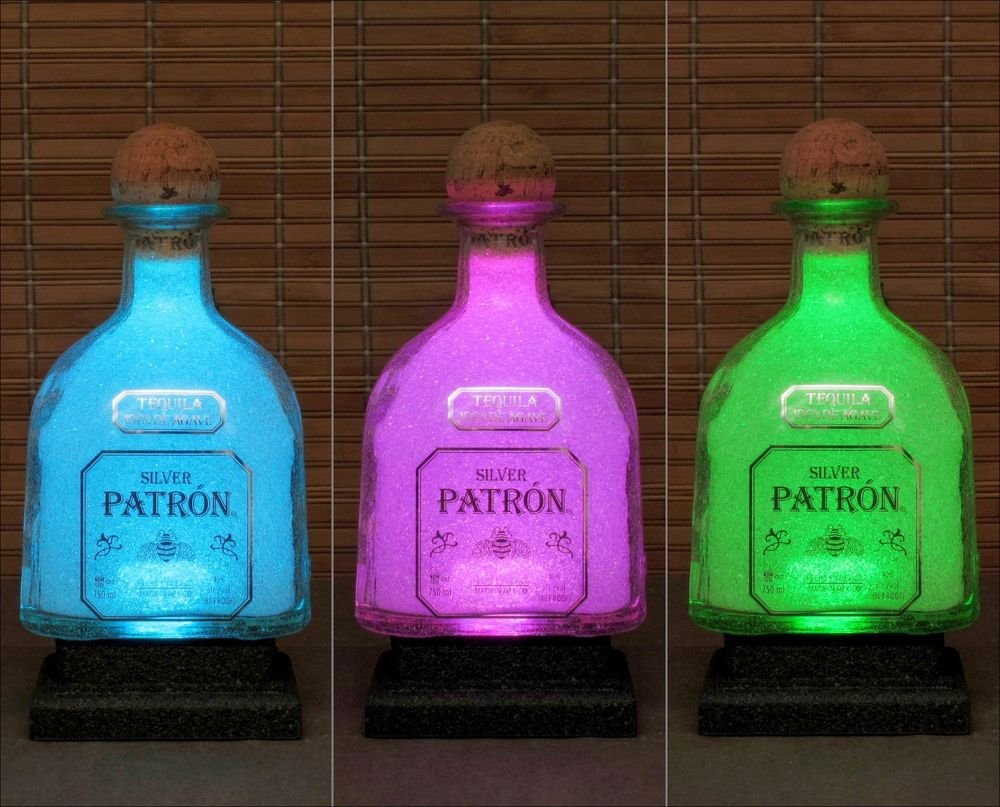 Silver Patron Tequila LED Color Changing  Remote Control Bottle Lamp Bar Light