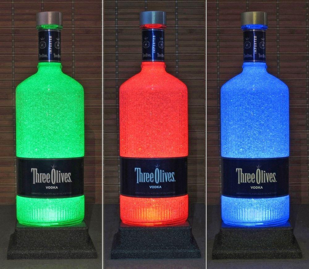 Three Olives Vodka Color Changing Bottle Lamp 1.75 Liter Remote LED Bar Light