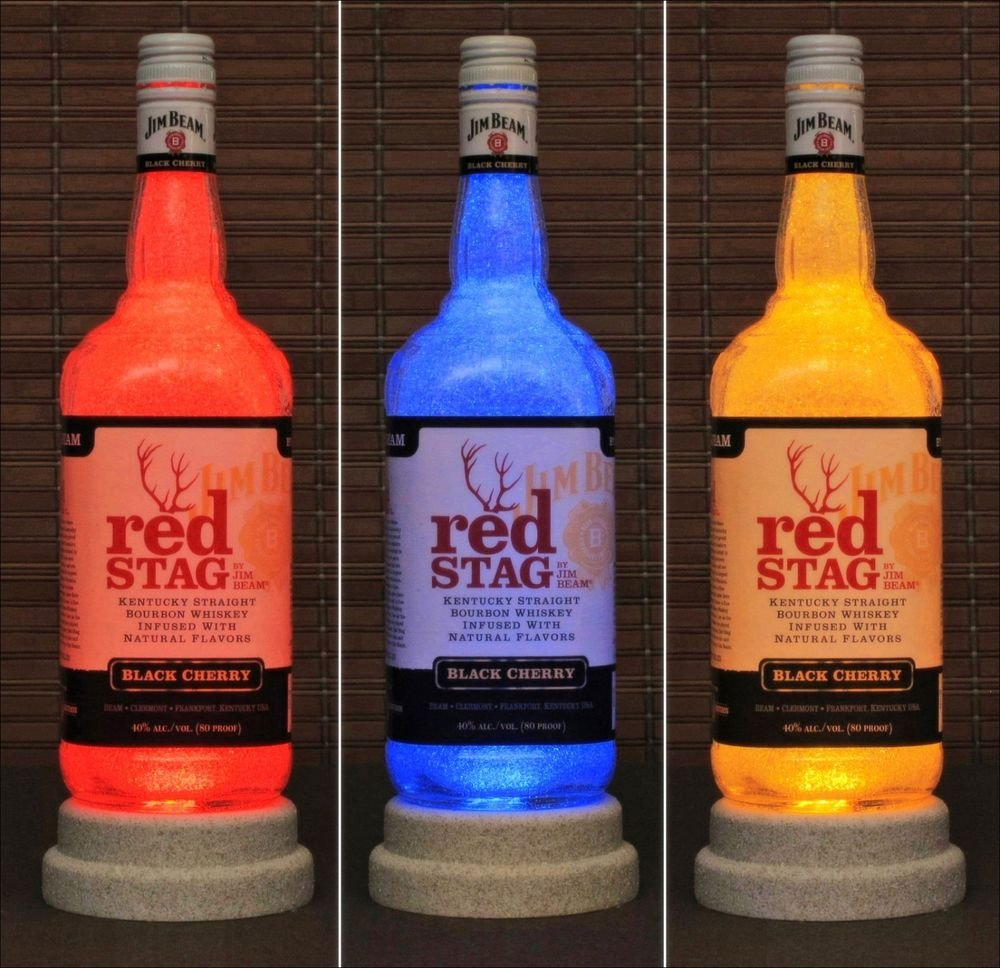 Jim Beam Red Stag Color Changing RGB LED Remote Control Bottle Lamp Light Bar