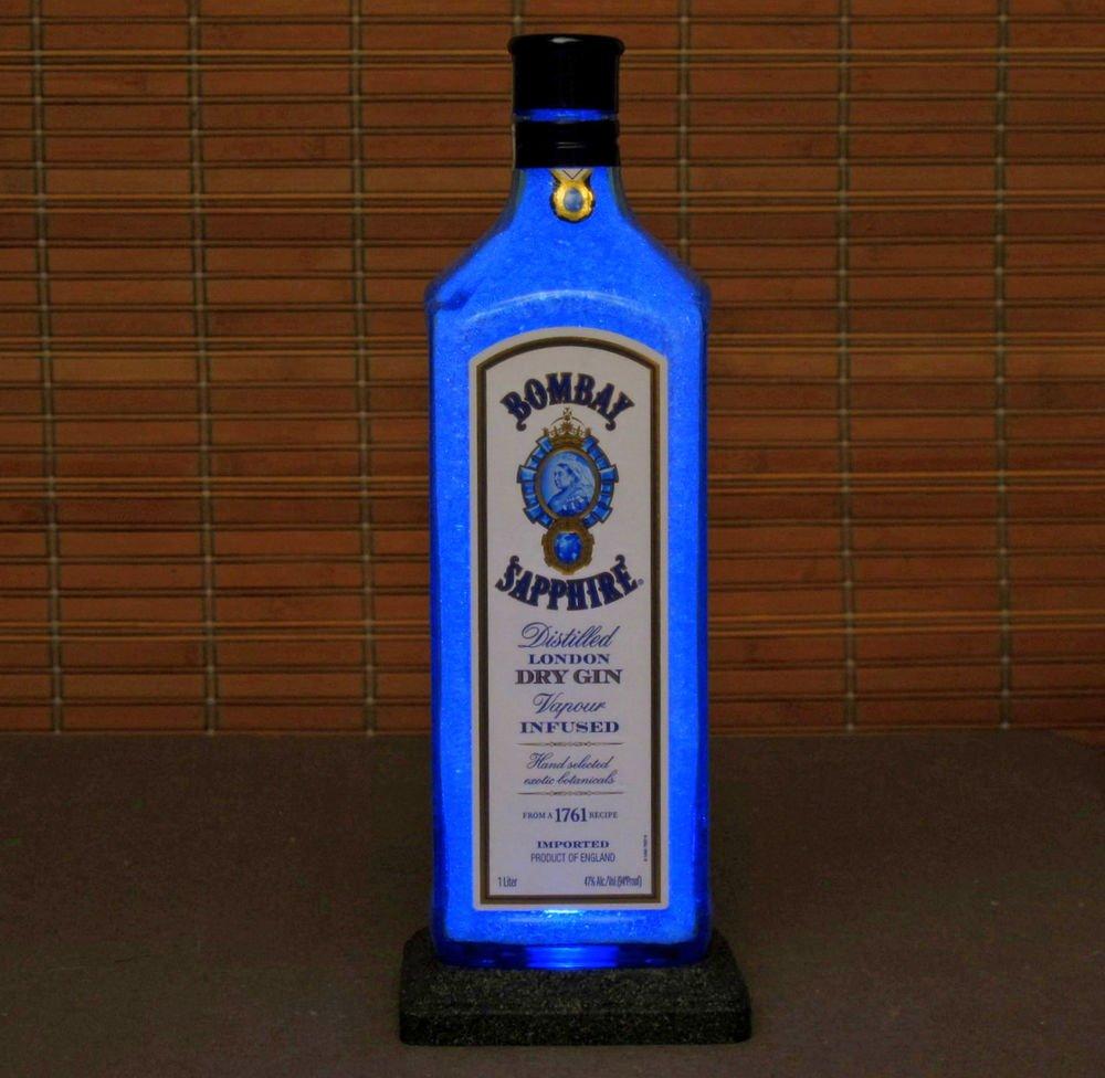 Bombay Sapphire Blue LED 1 liter Liquor Bottle Lamp Night Light Bar Man Cave