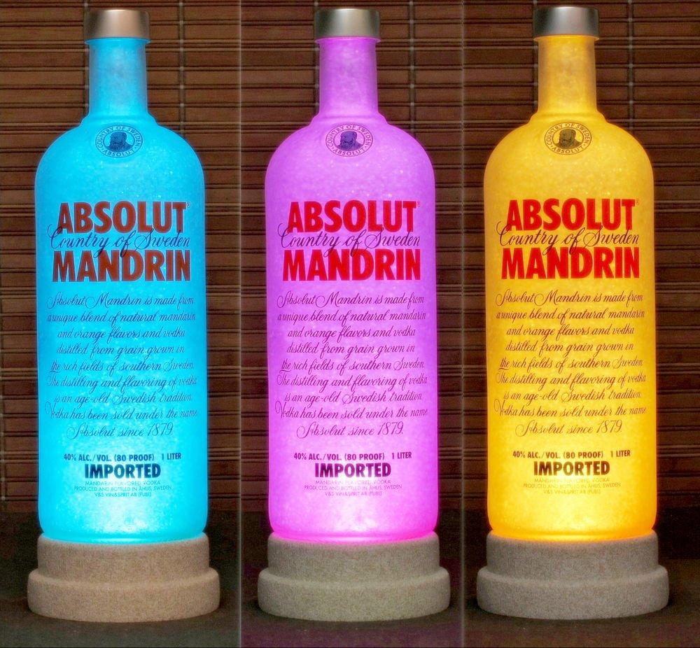Absolut Vodka Mandrin Color Changing Remote Control LED Bottle Lamp Bar Light