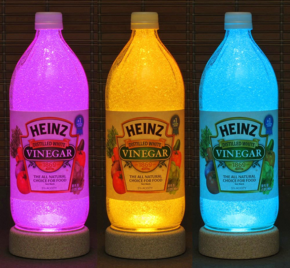 Heinz Vinegar Glass Remote Control Color Change Bottle Lamp Light Kitchen Decor