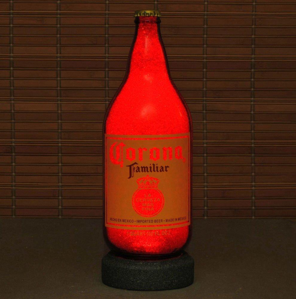 Corona Familiar 1 Quart Beer Bottle Lamp Night Light Bar Man Cave Ruby Red Glow