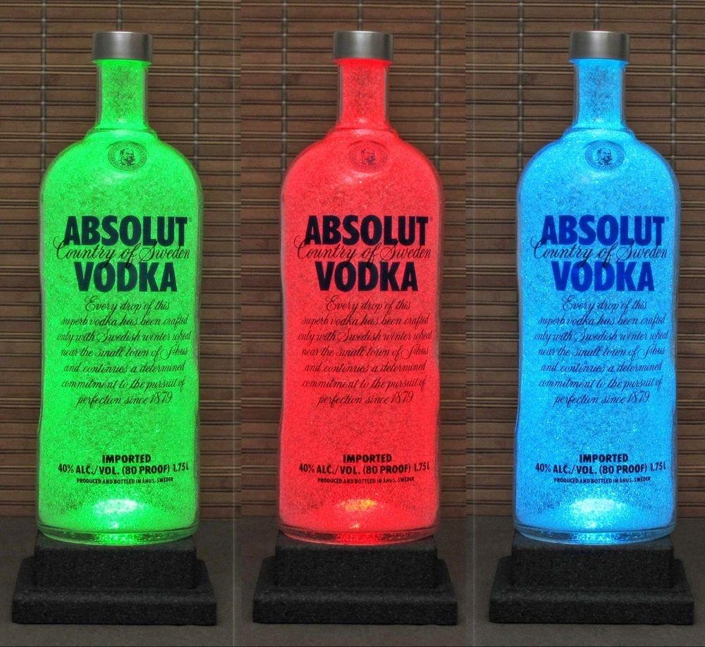 Absolut Vodka 1.75 Liter LED Color Change Remote Bottle Lamp Bar Light Man Cave
