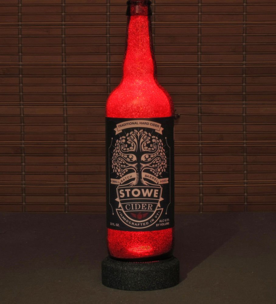 Stowe Cider Vermont Beer Bottle Lamp Night Light Bar Man Cave Ruby Red Glow
