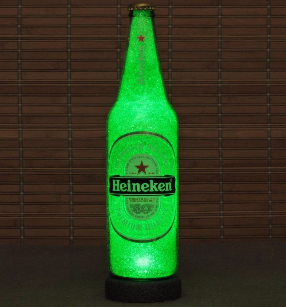 Heineken 24oz LED Beer Bottle Lamp Light Bar Sign Man Cave Lighting Pub