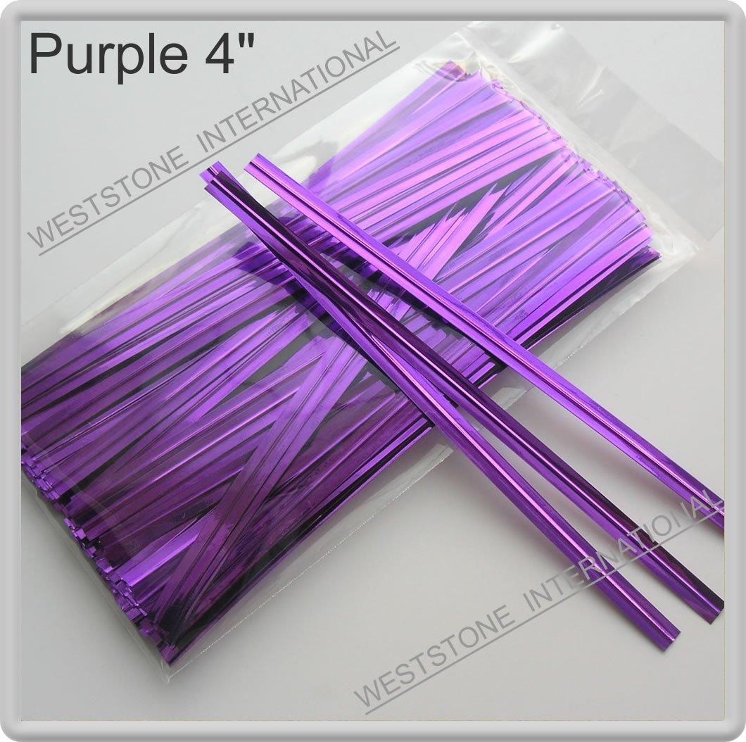 "100pcs Purple 4"" Metallic Twist Tie for Cake Pop Lollipop candy Cello Bag"