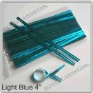 """100pcs Light Blue 4"""" Metallic Twist Tie for Cake Pop Lollipop candy Cello Bag"""