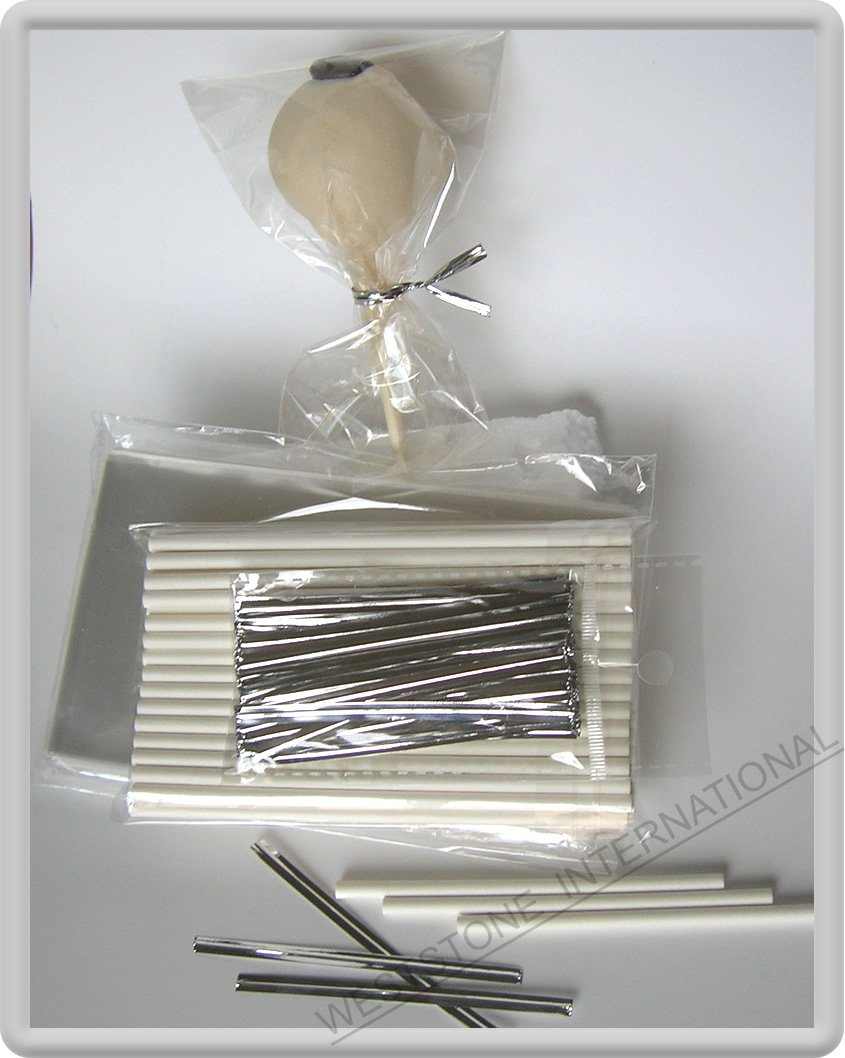 "100(4 1/2'' Lollipop Stick + 3"" x 5 1/2"" Bag+Twist Tie)for cake pop lollipop candy"