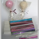 "100(8'' Lollipop Stick + 3"" x 5 1/2"" Bag+Twist Tie)for cake pop lollipop candy"