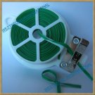 65ft (20m) Green Plastic Twist Tie roll with cutter for Gardening