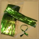 "100pcs Green 4"" Metallic Twist Tie for Candy Lollipop Cello Bag"