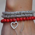 Red Coral, Bali Beads & Sterling Heart Charm Bracelet Necklace