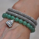 Aventurine, Bali Beads & Sterling Buddha Charm Bracelet Necklace
