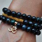 Green Tiger Eye, Bali Beads & Vermeil Ohm Charm Bracelet Necklace