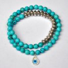 Turquoise, Mother of Pearl & Sterling Silver Evil Eye Charm Bracelet Necklace