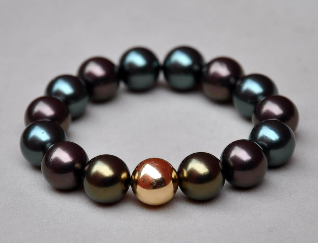 Tahitian Colored Pearls and 14K Yellow Gold Eternal Bracelet