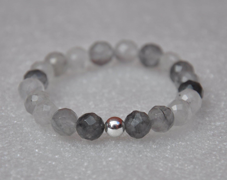 Faceted Cloudy Quartz & Sterling Silver Eternal Bracelet