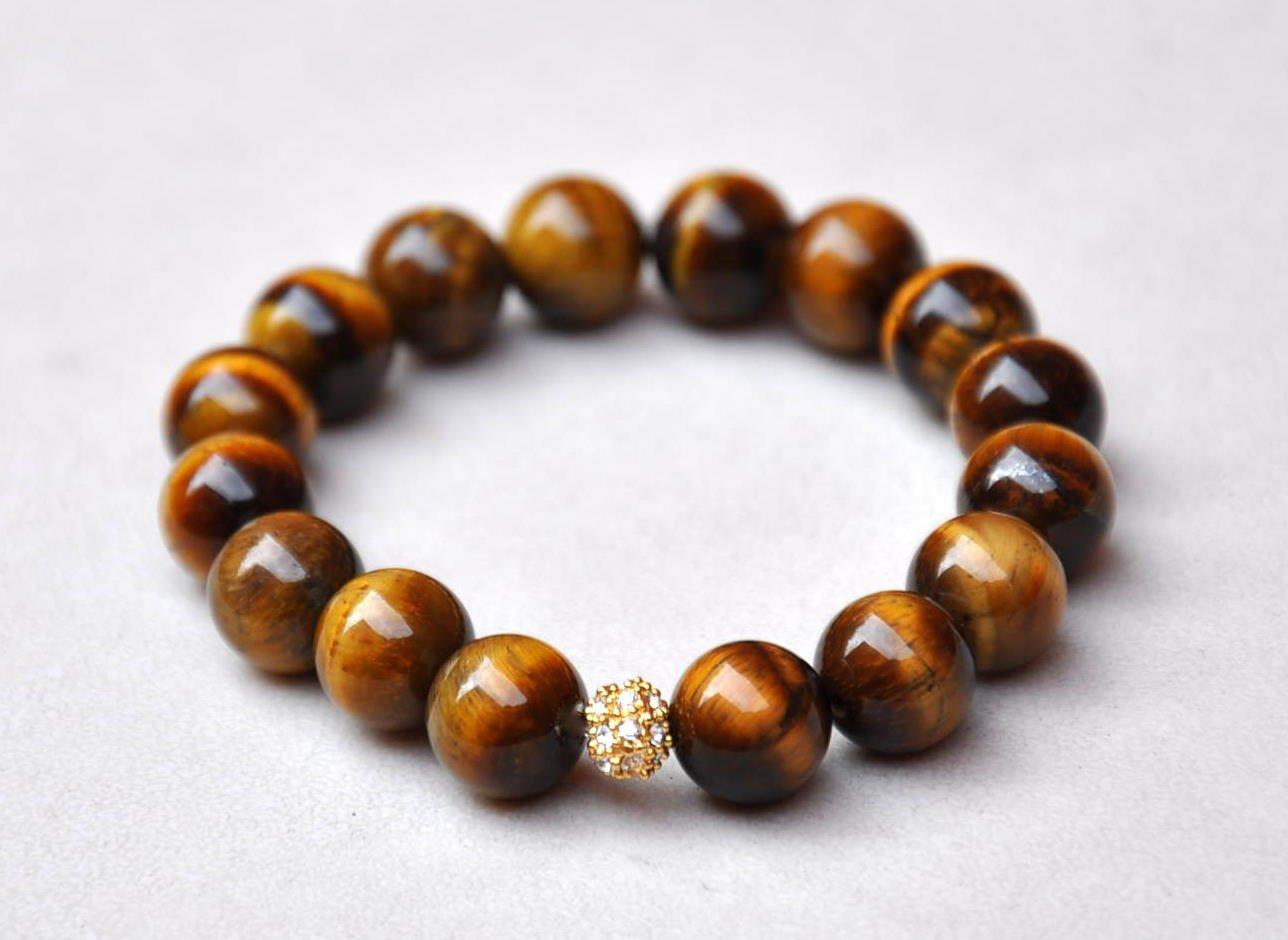Tiger Eye & Swarovski Pave Eternal Bracelet