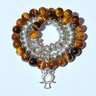 Diamond, Tiger Eye, Sterling Silver Owl Charm Bracelet Necklace